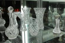 Bulb Form Decanter with Other Crystal incl. Flower Vases