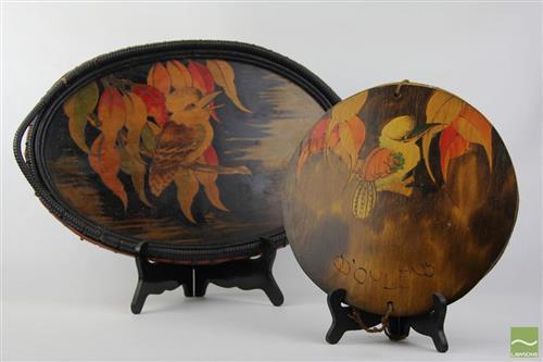 Antique Pokerwork Tray And Vintage Doiley Press With Kookaburra Motif