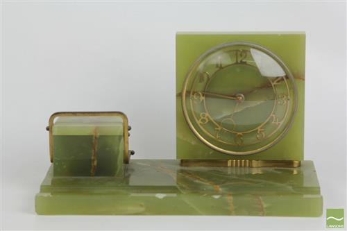 Art Deco Green Alabaster Desk Organiser with Fitted Clock and Inkwell