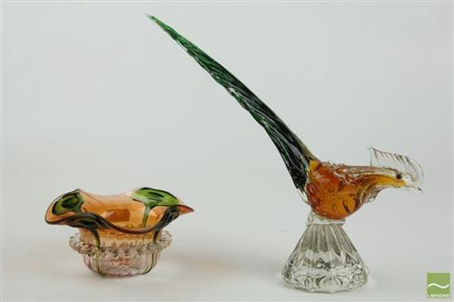 Art Glass Pheasant Together with Art Glass Dish