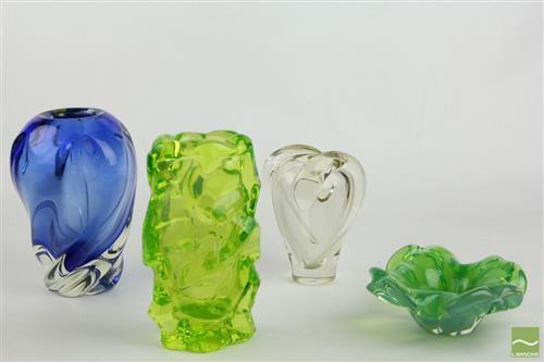 Art Glass Vases Together with Floral Art Glass Dish
