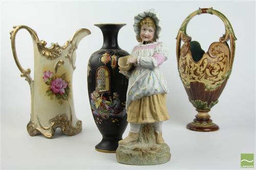Black Hand Painted Arabian Vase Together With Floral Example, Bisque Figure And Majolica Vase (Chipped To Bottom)