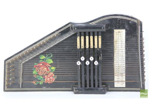Black Painted Zither With Rose Motif
