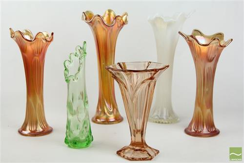Carnival Glass Stem Vases with Others inc Green and Ruby Glassware