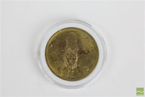 Cased Chinese gilt coin