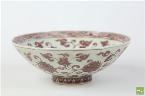 Chinese underglaze iron red painted bowl