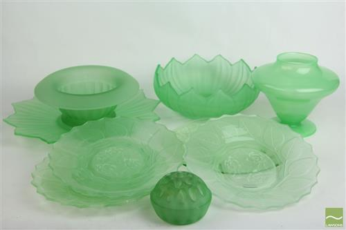 Depression Green Glass Floral Themed Dishes, Bowls and Vases