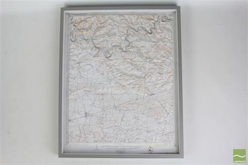 Elevated Framed Map of Kentucky