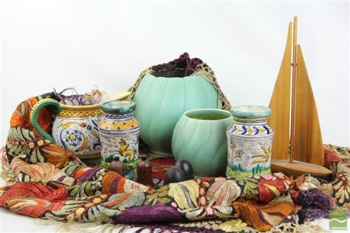Embroidered Silk Cloth, Diana & Mallorca Pottery, Bottle Ship & Salt and Peppers