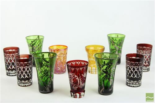 Etched Green, Amber and Red Drinking Glasses inc Carnival Glass Example