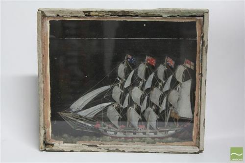 Framed Diorama of a Ship