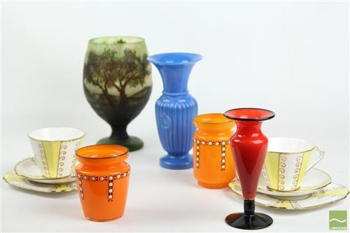Galle Style Vase Together with other Ceramics and Glassware inc Bell China