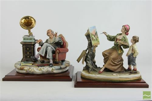 Italian Ceramic Figures on Timber Stand (2)