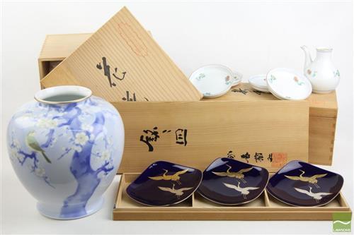 Japanese Sake Set with other Japanese Ceramics inc Vase with Bird in Tree Motif (Fukgawa Porcelain)
