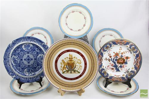 Late Derby Plates inc Blue and White and Commemorative Plates