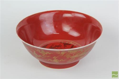 Red Glazed Bowl with Gilt Decorations of Dragons