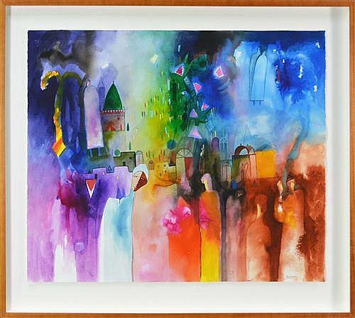 Ahmed Abushariaa (1960 -) - Refugees I (War in Darfur Series) 89 x 113cm