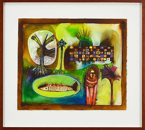 Ahmed Abushariaa (1960 -) - Untitled (Woman in the Park) 44 x 56cm