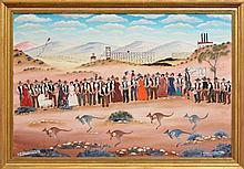 Howard William Steer (1947 - ) - Broken Hill Sports Day 60 x 90cm