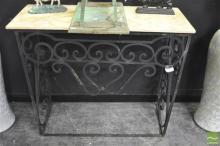 Marble Top Garden Table on Iron Base
