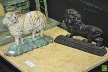 Two Iron  Door Stops of Sheep & Lion