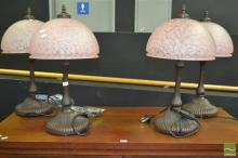 Set of Four Glass Shade Table Lamps