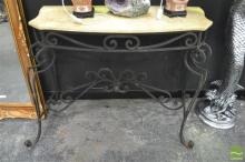 Marble Top Hall Table with Wrought Iron Base