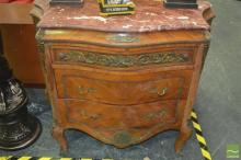 French Style Two Drawer Chest with Marble Top and Metal Mounts