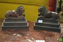 Pair of Cast Iron Lion Figure Door Stops