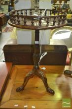 Carved Timber Wine Table with Gallery Top