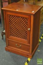 Pine Single Door Hatchwork Cabinet