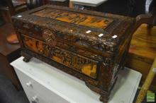 Ornately Carved Camphorwood Chest