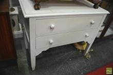 White Painted Two Drawer Cabinet