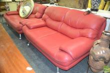 Red Leather Two Seater & Two Half Seater Lounges