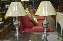 Pair of Silver and Gold Table Lamps (5785)