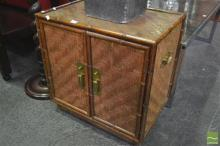 Small Cane Cabinet with Two Doors