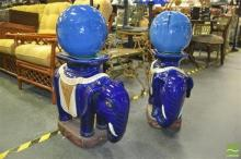 Pair of Blue Glazed Ceramic Elephants with Ceramic Blue Spheres