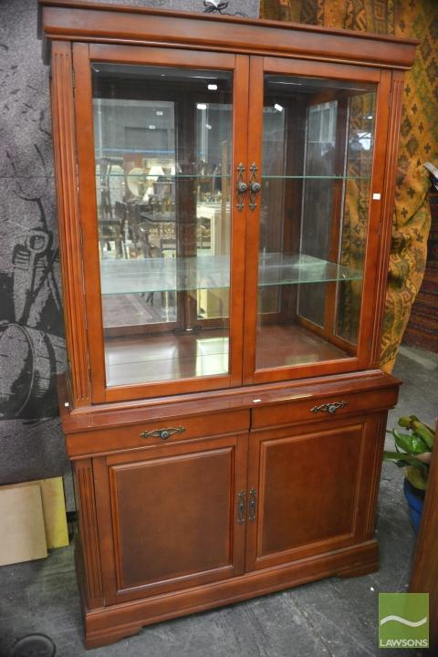 Display Cabinet W Glass Doors Shelves Above Cabinet Base