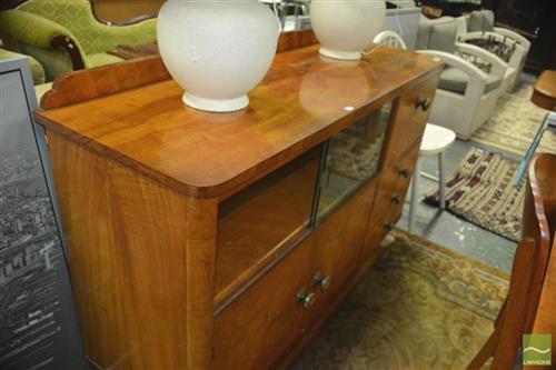 Birch Veneer Buffet ~ Birch veneer art deco sideboard with sliding glass doors and