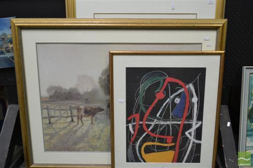 Group of (3) Decorative Prints after Modigliani, Miro, and Elioth Gruner (framed/various sizes)