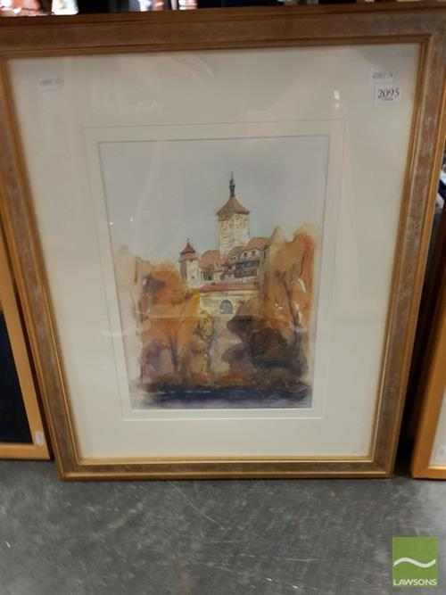 Jim Keller (2 works) - Distant View of a European Town; Abstract frame size: 59.5 x 49cm; 40 x 38cm