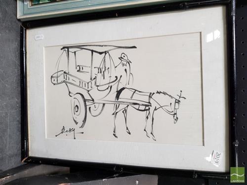Artist Unknown (2 works) - The Street Vendor 37 x 50.5cm