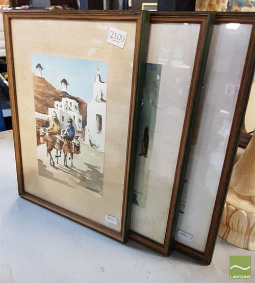 Artist Unknown (3 works) - Scenes from a Mediterranean Town 34 x 25.5cm, each (frame size)