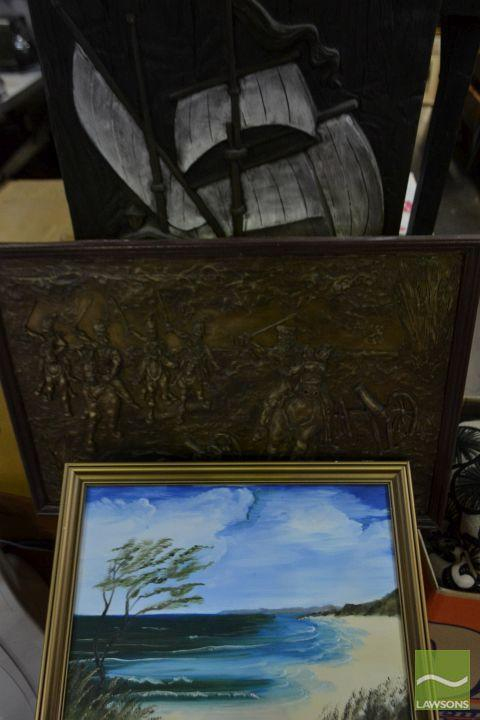 3 Artworks Comprising a Wooden Relief of a Ship, Framed Acrylic Painting & a Composite Work of a Military Scene