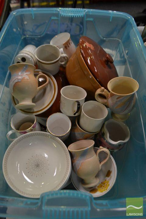 Box of Ceramics including 2 Diana pots and Royal Doulton plates, cups etc
