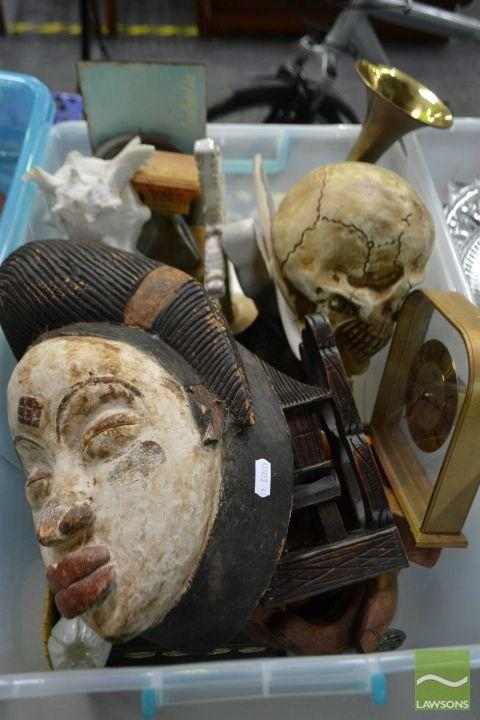 Box of Sundries incl Mask from Gabon, Wooden Bookends, Cups, Bugle etc