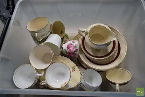 Box of 'Burslem' England 'Selston' with Doulton, Shelley, Royal Albert etc Cups and Saucers