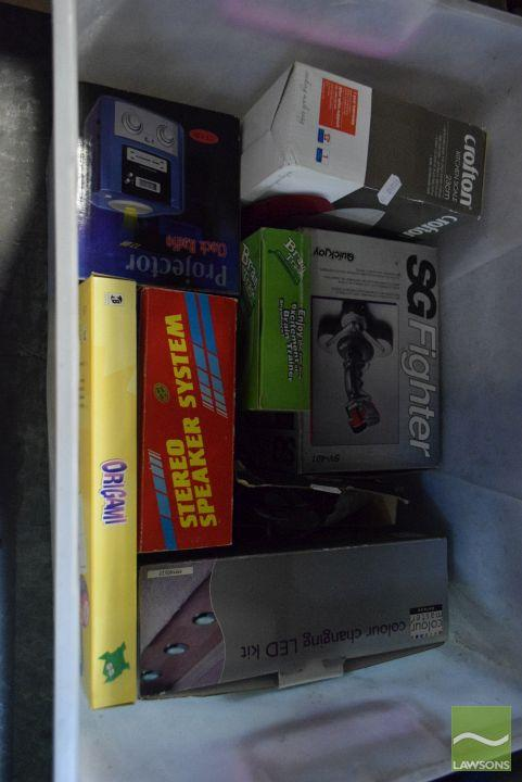 Tub of New Boxed Items incl Clock radio, kitchen scale etc