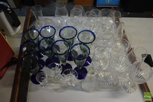 Collection of Glassware incl Blue Rimmed Wine Glasses