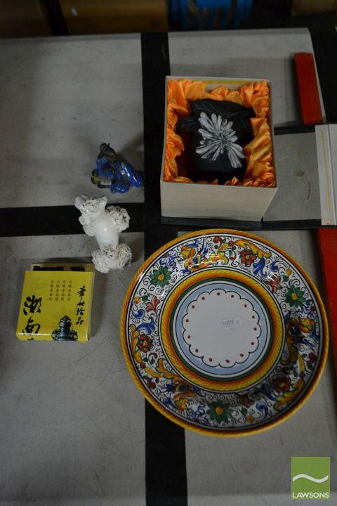 Collection Of Sundries Incl Japanese Soapstone Cup, Plate etc
